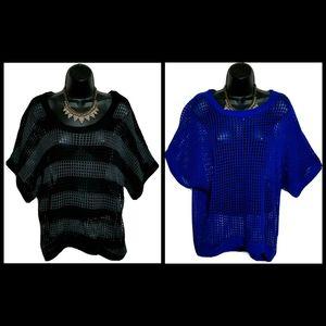 LOT 2 NEW Cool Attitude Open Knit Mesh Tops Jr 3X